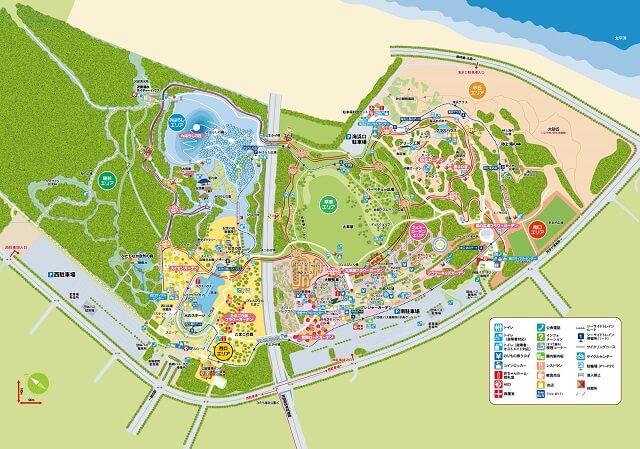 国営ひたち海浜公園 園内のエリアマップ