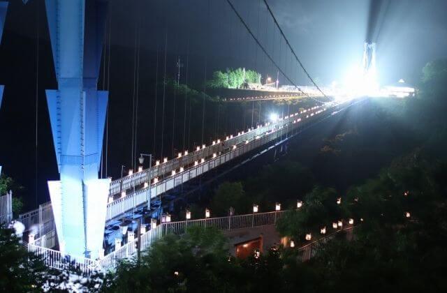 竜神大吊橋 竜神峡灯ろうまつり 夜 ライトアップ