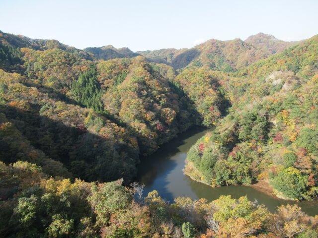 竜神峡 上からの景色 アクティビティができる竜神川