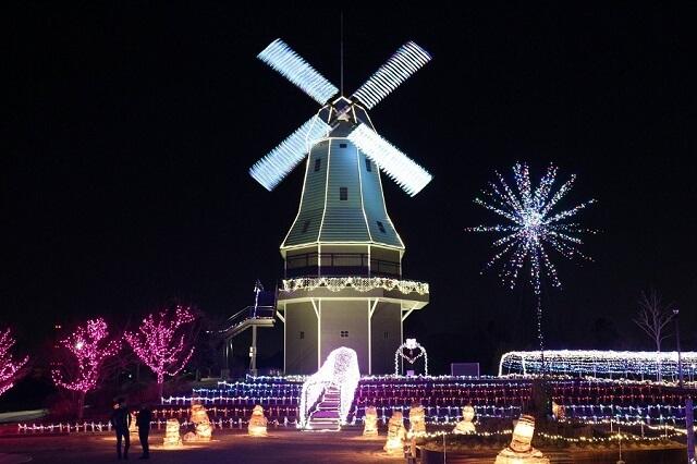 霞ヶ浦総合公園 イルミネーション オランダ風車