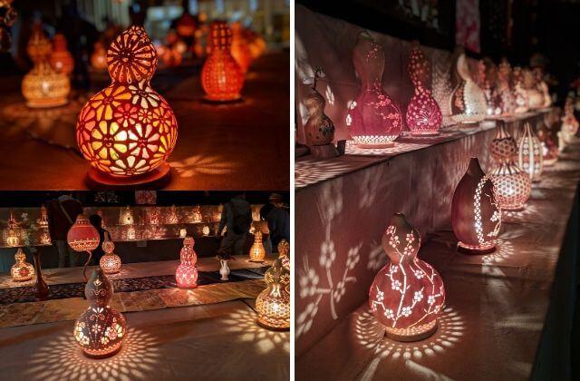梅まつり ライトアップ ひょうたんランプ展示