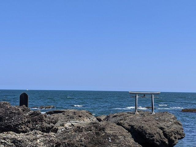 大洗磯前神社 神磯の鳥居 海岸
