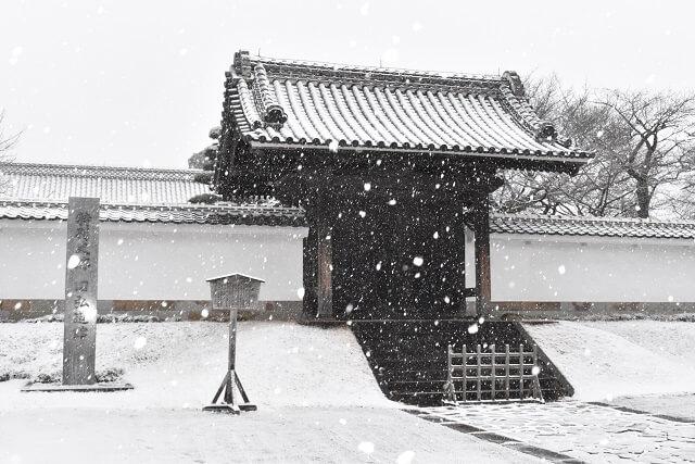弘道館 正門 雪景色