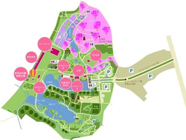 古河桃まつり 園内マップ