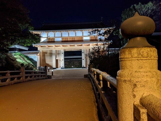 水戸城の大手門 復元完成 ライトアップ