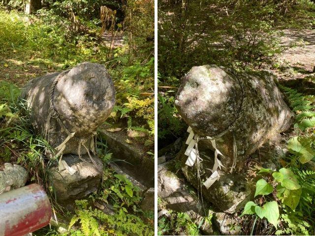 花園神社 境内 古い狛犬 北茨城市
