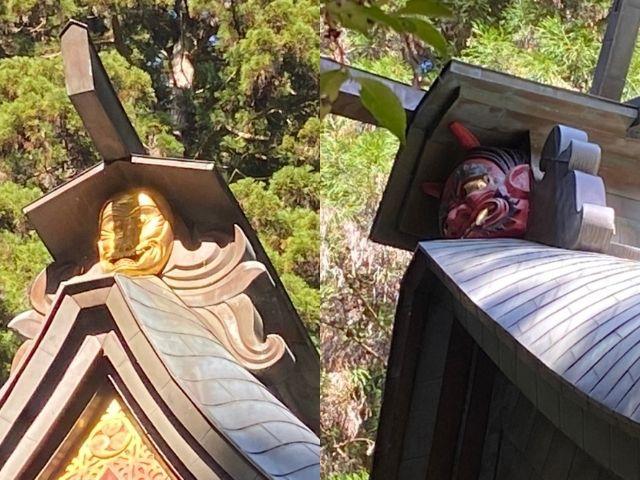 花園神社の拝殿 金の猿の面 装飾 魔除け 北茨城市