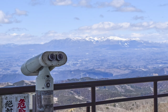八溝山 山頂 八溝山展望台からの景色 那須連山 那須岳