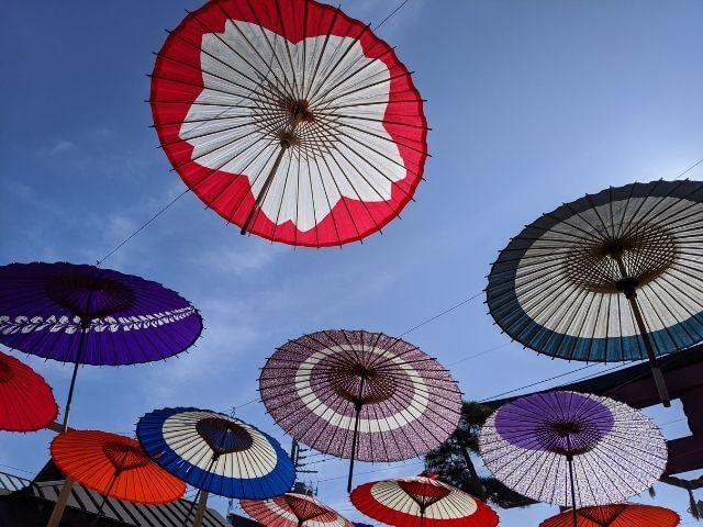 笠間の菊まつり 笠間稲荷神社 参道の和傘