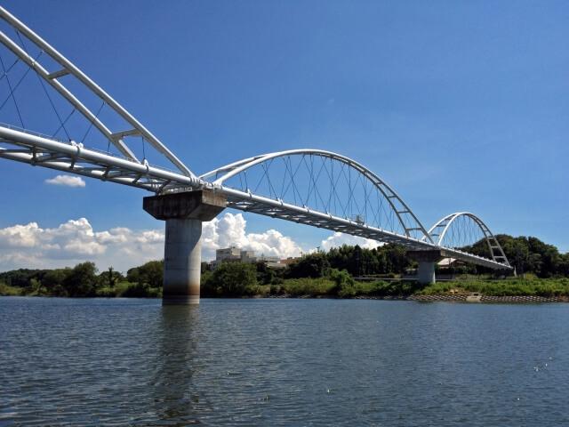 小貝川ふれあい公園 河川敷の公園 アーチ形の橋